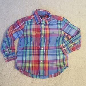 Ralph Lauren NWOT plaid button down shirt. Sz 3T